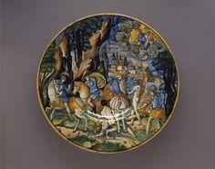 Maiolica dish-The Children of Niobe Shot by the Moon and the Sun, Sforza di Marcantonio, 1535-Acquired 1886 #bmag130