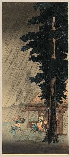 "Shotei, Takahashi 1871 - 1945, ""Evening Shower at Takaido"""