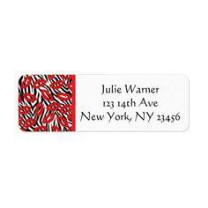 Red Black White Lips Return Address Stickers - return address gifts label labels cards diy cyo