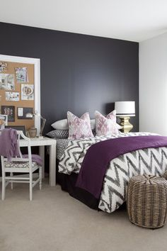 Organic Chevron Bedding + Parsons Desk in a Master Bedroom by Dayka Robinson. Love the duvet cover, the desk and the black accent wall. Dream Bedroom, Home Bedroom, Master Bedroom, Bedroom Decor, Bedroom Ideas, Plum Bedroom, Charcoal Bedroom, Bedroom Designs, Bedroom Colors