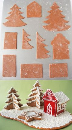 A simple design for a smaller cookie house - Mézeskalács mécsesfalu Christmas Sweets, Christmas Cookies, Christmas Time, Xmas, Gingerbread Village, Christmas Gingerbread, Gingerbread Cookies, Iced Cookies, Cake Cookies