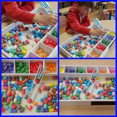 Sort colors with sound tray de Lange – Knippen Motor Activities, Sensory Activities, Preschool Activities, Kids Motor, Daycare Curriculum, Busy Boxes, Tot School, Creative Teaching, Fine Motor Skills