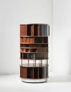 Joe Colombo 'Combi centre', circa 1963  Teak, acrylic, metal.  159.9 cm (62 7/8 in.) high, 84.4 cm (33 1/4 in.) diameter  Manufactured by Bernini