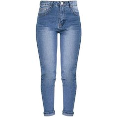 Kendall Mid Wash Mom Jeans (35 BRL) ❤ liked on Polyvore featuring jeans, bottoms, pants, medium wash jeans and blue jeans