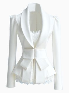 Slim fit White Blazer with Bow Waist | Persunmall