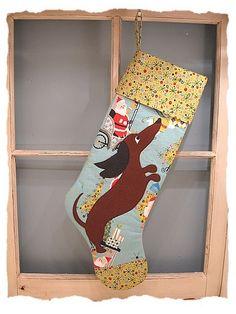 Dachshund Christmas Stocking Retro Felt by katydidstitches on Etsy, $50.00