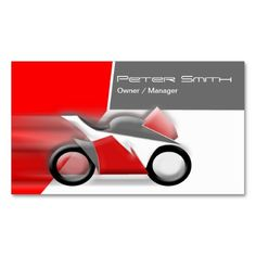 Red, White And Gray Motorcycle Business Card Template.