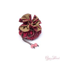 Drawstring Jewelry Pouch Dark Red and Gold Fabric Travel Case