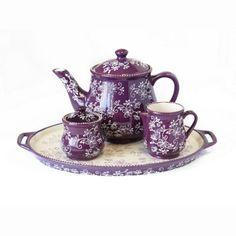 temp-tations® Floral Lace 4-pc Tea Set :: temp-tations® by Tara in Eggplant