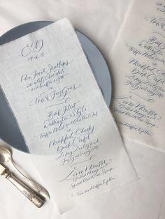 Digitally printed, bespoke menus on linen
