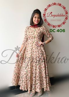 DC 406 For queries kindly whatsapp: 9059683293 Long Gown Dress, Frock Dress, Saree Dress, Long Dress Design, Dress Neck Designs, Saree Blouse Designs, Designer Anarkali Dresses, Designer Dresses, Kalamkari Dresses
