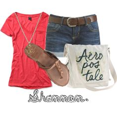 Cute Casual Outfits For Teens | Shirt - Shorts & Belt - Necklace - Shoes - Bag