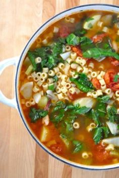 Recipe for Winter Minestrone Soup - Try the warmth and heartiness of a hot soup. It's an easy and quick soup to prepare, and wonderful to enjoy with a loaf of crusty Italian bread.