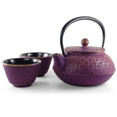 Funky and cool tea set in purple