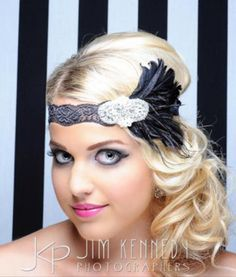 Great Gatsby 1920s black lace with feather by whatabetty81 on Etsy