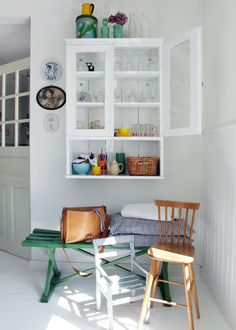hanging antique cabinets w/ bench underneath // fort & field Style At Home, Room Inspiration, Interior Inspiration, Cosy Kitchen, Kitchen Interior, House Colors, Home And Living, Living Room Designs, Home Fashion
