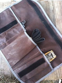 Waxed Canvas Tool Roll, Brown and Grey bicycle accessory