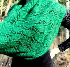 Hand knit mohair silk merino light lace spruce green by Kailill