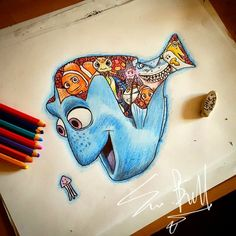 Dory [feat. Marlin, Squirt, Peach, Nemo, Bruce, a seagull & Bubbles] (Image Within by LittleSamsArt93 @Facebook) #FindingNemo