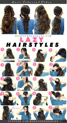 4 Easy lazy Hairstyles for Fall | #hair tutorial | Braids + Ponytail