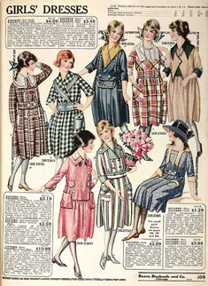 Bold colors and patterns were in style for dresses in the late-1910s. This page of girls' dresses in from the Spring 1919 Sears catalog.