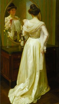The White Shawl - Miller, Richard (American, 1875 - Fine Art Reproductions, Oil Painting Reproductions - Art for Sale at Bohemain Fine Art Mirror Art, Mirror Image, Mirrors, White Shawl, Impressionist Artists, Victorian Art, Through The Looking Glass, Look In The Mirror, Beautiful Paintings