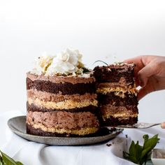 A cake to impress (but easier than it looks) with a step-by-step guide: chocolate espresso cake, crack pie, pecan butter, espresso frosting.