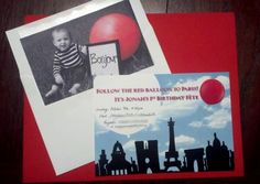 french theme, red balloon theme first birthday: invitation