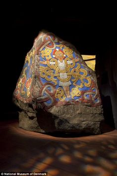 Historic: A replica of the 'Jelling stone', erected by King Harald Bluetooth in the late 10th century to celebrate his achievement in unitin...
