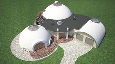 Projekt domu kopuły, z garażem dwustanowiskowym oraz miejscem do prowadzenia niezależnej działalności gospodarczej.
