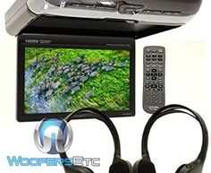 "Alpine PKG-RSE3HDMI 10.1"" Overhead Flip Down WSVGA Monitor with Built-in DVD…"