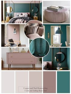 Just love this vibrant bedroom scheme using Farrow and Ball& Vardo and, one of their new colours, Sulking room pink. The fabulous bedroom design by Katerina Shahmanova shows off this stunning combination with the addition of gold / brass accents.