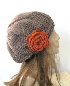 Hand Knit Hat  Womens hat beret in Taupe with pumpkin  by Ebruk, $30.00