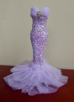 Lilac 1/12th scale mermaid style Gown handmade by me xxx