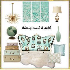 Classy mint & gold Living room moodboard by A-Interior Designs