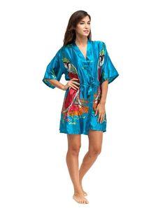 2f9ae3401d Blue Chinese National Women Silk Rayon Robe Sexy Short Sleepwear Kimono  Bath Gown Nightgown Plus Size S M L XL XXL XXXL A-062