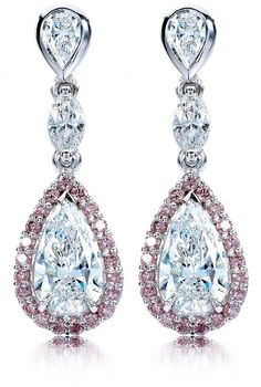 White Pear Shaped and Pink Diamond Earrings in White Gold by Calleija