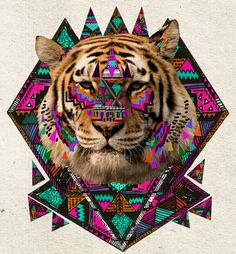 ▲WILD MAGIC▲ by Kris Tate    #art #society6 #tiger #animal #indie #colorful #boho