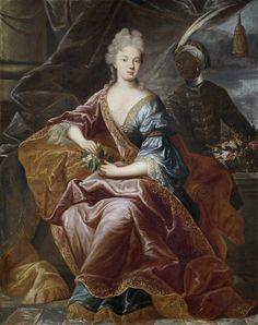 Circle of Nicolas de Largillière (Paris 1656-1746) Portrait of a lady with an African attendant, before a curtain