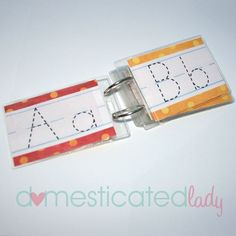 What a great way to practice writing letters without wasting tons of paper. Use in writing center with a dry erase marker with the pom pom on top for the eraser. Preschool Literacy, Literacy Activities, Kindergarten Reading, Alphabet Activities, Alphabet Tracing, Kids Education, Phonics, Kids Learning, Writing Letters