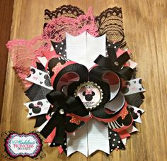 Minnie Mouse Over the Top Bottlecap Bow by MadelinesOnlineStore, $8.00