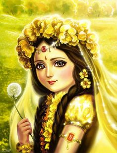 Radha is the Supreme Energy of Love for God. She is the Krishna in the male form. Radha and Krishna is the one Person in two body. It took 7 hours to pa. Radha and flower Krishna Hindu, Radha Krishna Love Quotes, Cute Krishna, Lord Krishna Images, Radha Krishna Pictures, Radha Krishna Photo, Baby Krishna, Jai Shree Krishna, Radhe Krishna