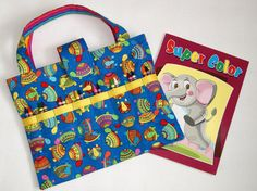 childs art bag coloring book crayon tote kids arts and crafts storage travel activity tote crayon holder child road trip bag - Coloring Book And Crayon Holder