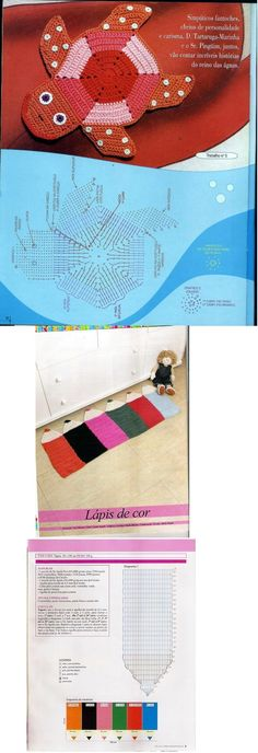 Easy to crochet rug to decorate kids' rooms. Charts are on this illustration.
