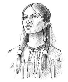 Abbildung aus dem Buch Sieben berühmte Indianerinnen von Ernst Probst - Zeichnung: Antje Püpke, Berlin, http://www.fixebilder.de