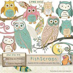Owl Clip Art -  Owl ClipArt - Vintage Style Digital Graphics -  Whimsical FolkArt - HandDrawn in Illustrator - Commercial - Wispy