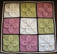 Squares of knitting flowers - russian pattern