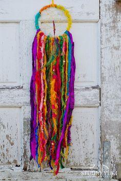 Boho Dreamcatcher, Colorful, Tibet, Prayer Flags, Bohemian Wall Art, Red, Purple, Yellow, Sari Silk, Meditation Room, Wall Hanging, Yoga