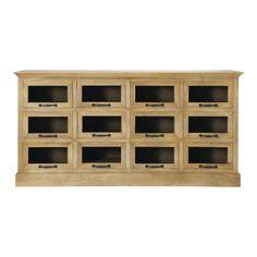 Wood 12-drawer cabinet Naturaliste