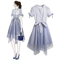 Load image into Gallery viewer, French-style Retro Super Popular Belt Ornament Tulle Switch Sweet One Piece Dress Source by dress sketches Mode Outfits, Dress Outfits, Casual Dresses, Short Dresses, Cute Dresses, Fashion Drawing Dresses, Fashion Illustration Dresses, Fashion Dresses, Fashion Design Drawings
